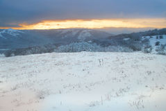 Winter landscape. Sunset. Royalty Free Stock Photo
