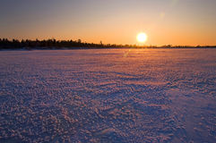 Winter landscape. Sunset. Royalty Free Stock Photos