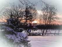 Winter landscape at sunset in December. Quebec, Canada, December 2017. Photo showing a winter landscape after a snowfall. Olympus E-M1, 14-150 lens, 22mm iso Royalty Free Stock Images