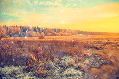 Winter landscape at sunset, field, forest Stock Photo