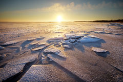 Winter landscape with sunset fiery sky. Royalty Free Stock Photo