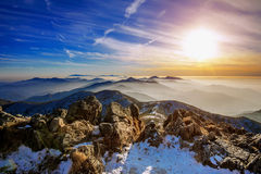 Winter landscape with sunset and foggy in Deogyusan mountains, Korea. Royalty Free Stock Images