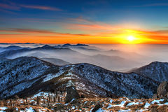 Winter landscape with sunset and foggy in Deogyusan mountains. Royalty Free Stock Photos