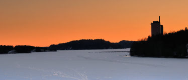Winter landscape with sunset glow Royalty Free Stock Image