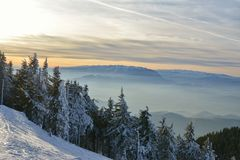 Winter landscape of sunset over the Piatra Craiului Mountains. Stock Image