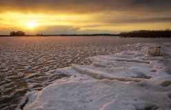 Winter landscape with sunset sky. Royalty Free Stock Images