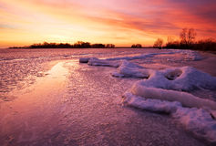 Winter landscape with sunset sky. Stock Image
