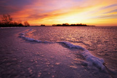Winter landscape with sunset sky. Stock Photography
