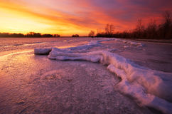 Winter landscape with sunset sky. Royalty Free Stock Image