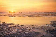 Winter landscape with sunset sky. Stock Photo