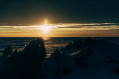 Winter landscape - sunset Royalty Free Stock Images