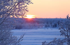 Winter landscape on a sunset Royalty Free Stock Images