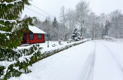 Winter landscape of Swedish village road Stock Image