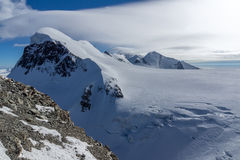 Winter Landscape of swiss Alps and mount Breithorn, Switzerland Royalty Free Stock Photos