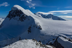 Winter Landscape of swiss Alps and mount Breithorn,  Switzerland Royalty Free Stock Image