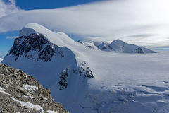 Winter Landscape of swiss Alps and mount Breithorn, Switzerland Stock Image
