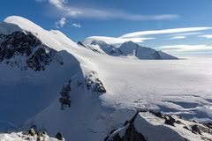 Winter Landscape of swiss Alps and mount Breithorn, Switzerland. Winter Landscape of swiss Alps and mount Breithorn, Canton of Valais, Switzerland Royalty Free Stock Photo