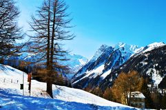 Winter landscape of Swiss Alps Stock Photos