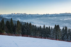 Winter landscape of Tatra Mountains at sunset Royalty Free Stock Images