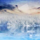 Winter landscape and tech design Stock Photos