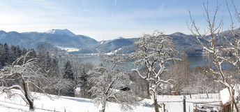 Winter landscape tegernsee, view from hillside walkway Royalty Free Stock Photo