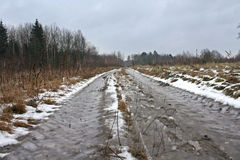 Winter landscape in thaw. With road Royalty Free Stock Images