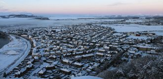 winter landscape - Town in snow Royalty Free Stock Photography