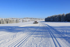 Winter landscape and trails for skiers Stock Image