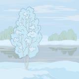 Winter landscape. Tree on the shore Stock Image