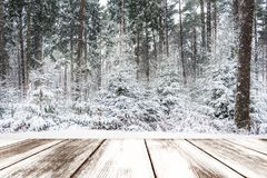 Winter landscape of trees covered with snow - Table full of snowflakes. With space for your product advertisement stock photos