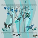 Winter landscape with trees, flowers, leaves, hearts and dancing fairies. Royalty Free Stock Images