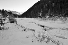 Winter landscape. Trees and frozen river Royalty Free Stock Images