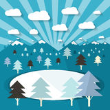 Winter Landscape with Trees and Lake Royalty Free Stock Photo