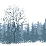 Winter landscape with trees and snow. Winter woodland landscape with trees and snowflakes silhouettes. Eps10, contains transparencies. Vector Royalty Free Stock Photography