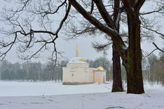 Winter  landscape with Turkish Bath  pavilion and lake Stock Photos