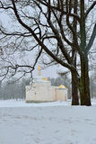Winter  landscape with Turkish Bath  pavilion and lake Stock Image