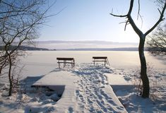Winter landscape with two benches Royalty Free Stock Image