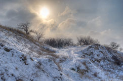 Winter landscape in Ukraine Royalty Free Stock Images