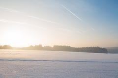 Winter landscape under white snow Stock Photos