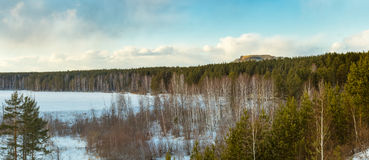 Winter landscape with the Ural mountains, Russia, Ural Royalty Free Stock Image