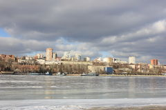 Winter landscape urban river Stock Photo