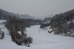 Winter landscape. Winter in the Valley. Winter landscape royalty free illustration