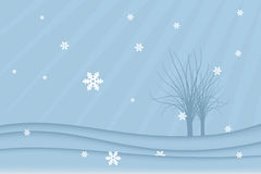 Winter landscape (vector). Winter background (vector): landscape with trees and snowflakes Stock Photo