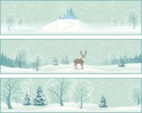 Winter Landscape Vector Banners stock illustration