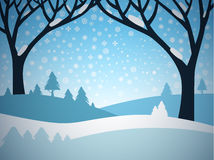 Winter Landscape. Vector Cartoon. Field Covered with Snow Stock Photos