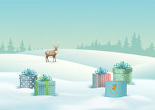 Winter Landscape Vector. Vector Winter Christmas Landscape with gifts, snow covered hills, deer Stock Images