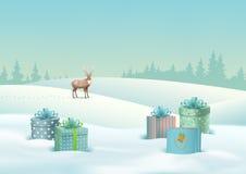 Winter Landscape Vector Stock Images