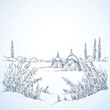 Winter landscape. Vector drawing. Snow covered quiet wintertime scene. Freehand outline ink hand drawn picture sketchy in art scribble retro style pen on paper Royalty Free Stock Photos