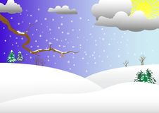 Winter landscape. Vector illustration. Royalty Free Stock Photos