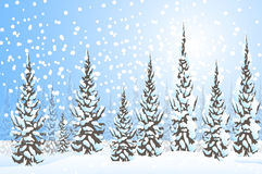 Winter Landscape-Vector Royalty Free Stock Image